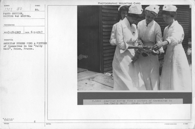 """American nurses find a picture of themselves in the """"Daily Mail"""", Rouen, France. 6-1-1917"""