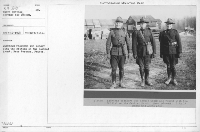American Pioneers who fought with the British on the Cambrai front. Near Peronne, France. 12-5-1917