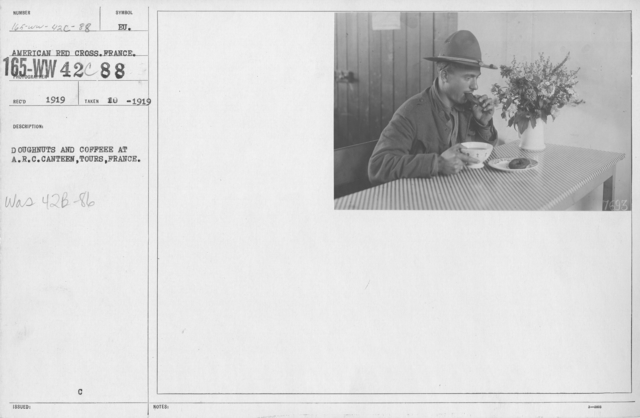 American Red Cross - Canteens - Doughnuts and coffee at A.R.C. Canteen, Tours, France
