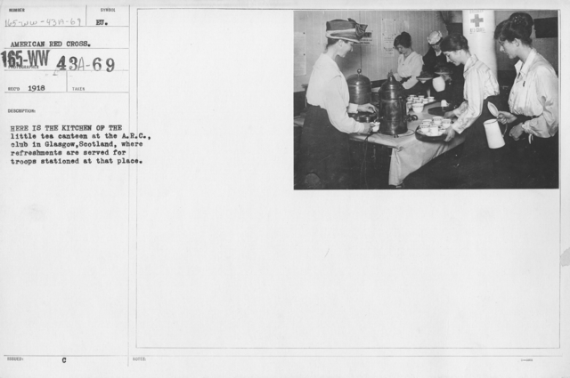 American Red Cross - Canteens - Here is the kitchen of the little tea canteen at the A.R.C., club in Glasgow, Scotland, where refreshments are served for troops stationed at that place