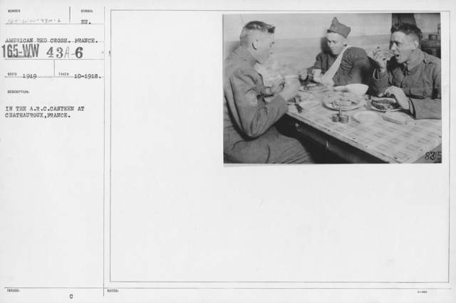 American Red Cross - Canteens - In the A.R.C. Canteen at Chateauroux, France