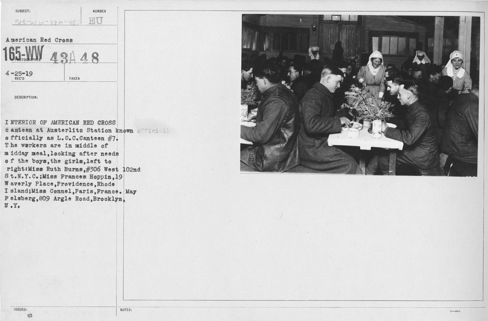 American Red Cross - Canteens - Interior of American Red Cross canteen at Austerlitz Station known officially as L.O.C. Canteen #7. The workers are in middle of midday meal, looking after needs of the boys, the girls, left to right: Miss Ruth Burns, #306 West 102nd St., N.Y.C.; Miss Frances Hoppin, 19 Waverly Place, Providence, Rhode Island; Miss Connel, Paris, France; May Felsberg, 809 Argle Road, Brooklyn, N.Y