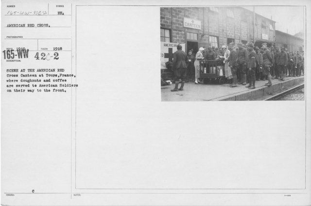 American Red Cross - Canteens - Scene at the American Red Cross Canteen at Tours, France, where doughnuts and coffee are served to American soldiers on their way to the front