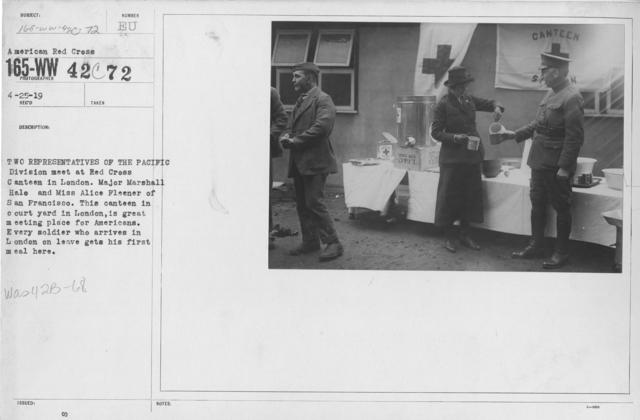 American Red Cross - Canteens - Two representatives of the Pacific Division meet at Red Cross Canteen in London. Major Marshall Hale and Miss Alice Fleener of San Francisco. This canteen in courtyard in London, is a great meeting place for Americans. Every soldier who arrives in London on leave gets hi first meal here