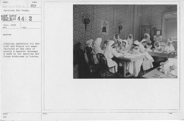 American Red Cross - Classes in Red Cross Work - England - Surgical dressings for England are manufactured at the rate of nearly a hundred thousand a week at the American Red Cross workrooms in London