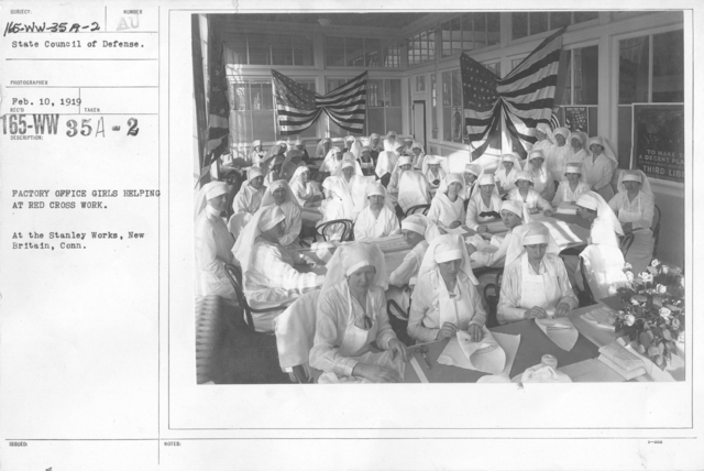 American Red Cross - Classes in Red Cross Work - Factory Office Girls helping at Red Cross Work. At the Stanley Works, New Britain, Conn