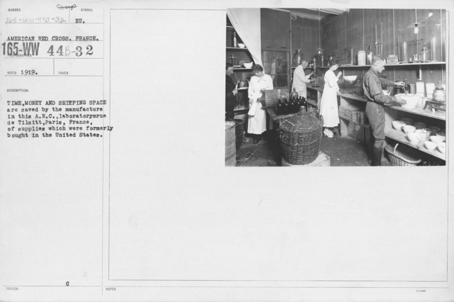 American Red Cross - Classes in Red Cross Work - France - Time, money, and shipping space by the manufacture in this A.R.C. laboratorymrue de Tilsitt, Paris, France, of supplies which were formerly bought in the United States