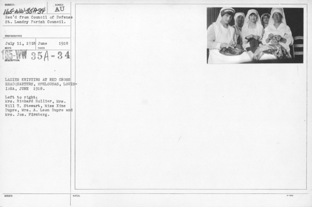 American Red Cross - Classes in Red Cross Work - Ladies knitting at Red Cross Headquarters, Opelousas, Louisiana, June 1918. Left to right: Mrs. Richard Hollier, Mrs. Will T. Stewart, Miss Xine Dupre, Mrs. A. Leon Dupre and Mrs. Jos. Firnberg