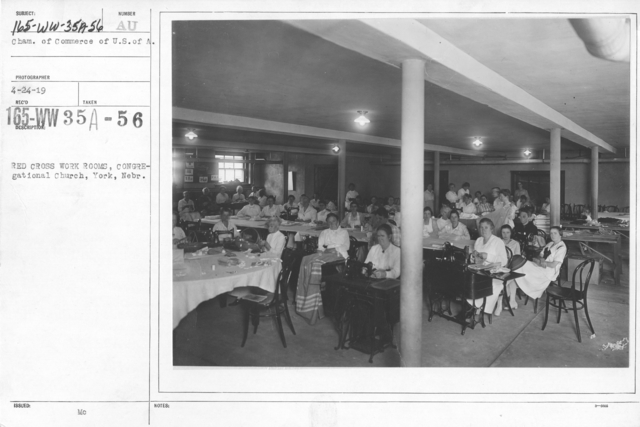 American Red Cross - Classes in Red Cross Work - Red Cross work rooms, Congregational Church, York, Nebr