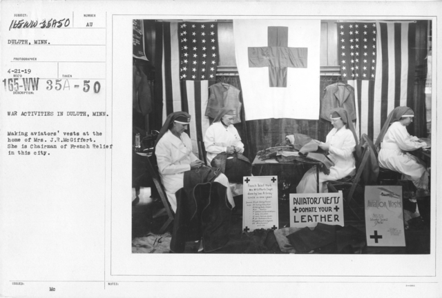 American Red Cross - Classes in Red Cross Work - War Activities in Duluth, Minn. Making aviators' vests at the home of Mrs. J.R. McGiffert. She is Chairman of French Relief in this city