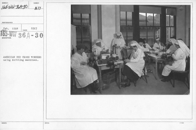 American Red Cross - Classes in Red Cross Work (workrooms and classes) - American Red Cross workers using knitting machines