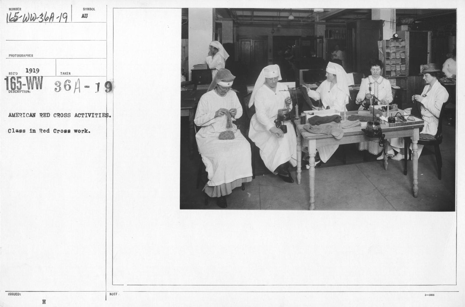 American Red Cross - Classes in Red Cross Work (workrooms and classes) - American Red Cross Activities. Class in Red Cross Work