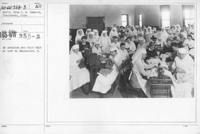 American Red Cross - Classes in Red Cross Work (workrooms and classes) - An American Red Cross unit at work in Cincinnati, Ohio