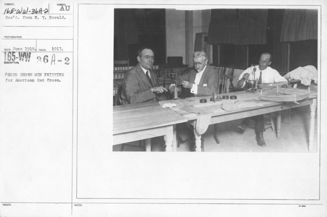 American Red Cross - Classes in Red Cross Work (workrooms and classes) - Photo shows men knitting for American Red Cross
