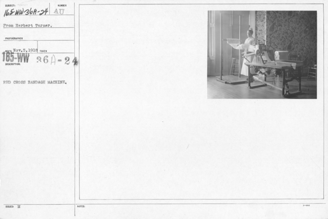 American Red Cross - Classes in Red Cross Work (workrooms and classes) - Red Cross bandage machine