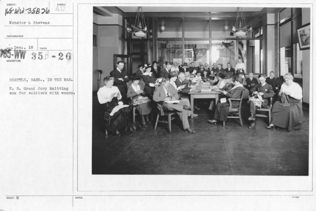 American Red Cross - Classes in Red Cross Work (workrooms and classes) - Seattle, Wash. In the war. U.S. Grand Jury Knitting sox for soldiers with women