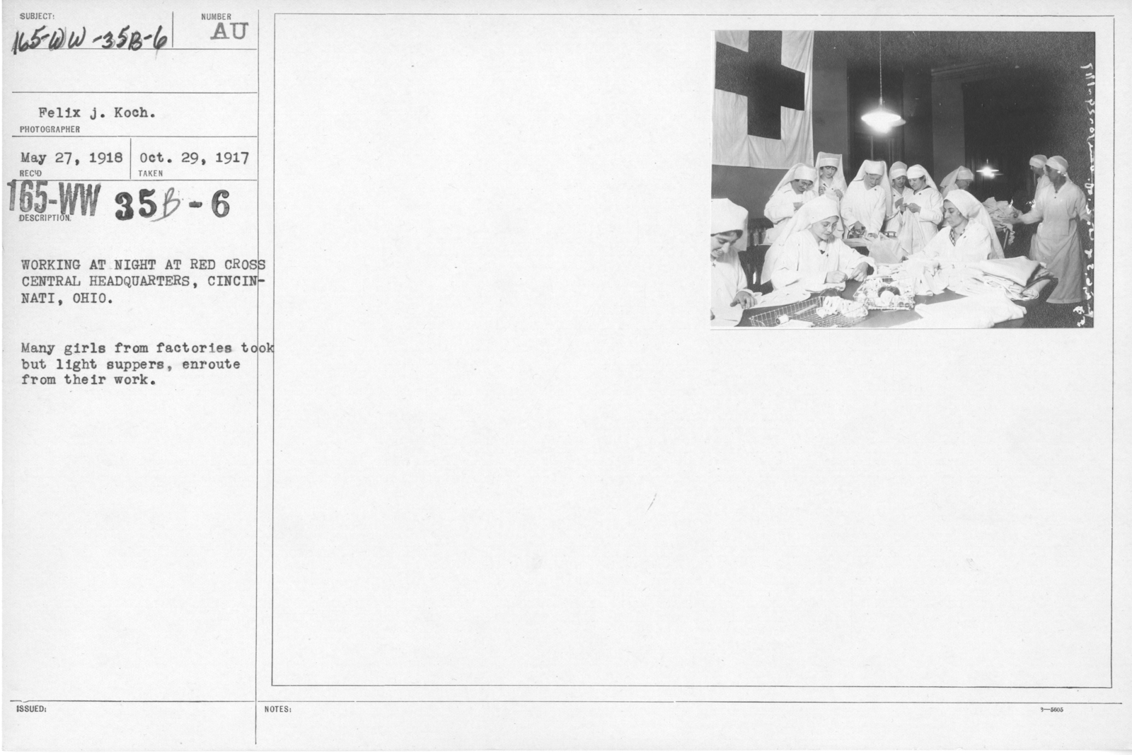 American Red Cross - Classes in Red Cross Work (workrooms and classes) - Working at night at Red Cross Central Headquarters, Cincinnati, Ohio. Many girls from factories took but light suppers, enroute from their work