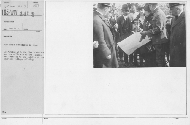 American Red Cross - Construction - Red Cross Activities in Italy. Conferring with the Pisa officials and the officials of the Italian Red Cross as to the details of the American village buildings