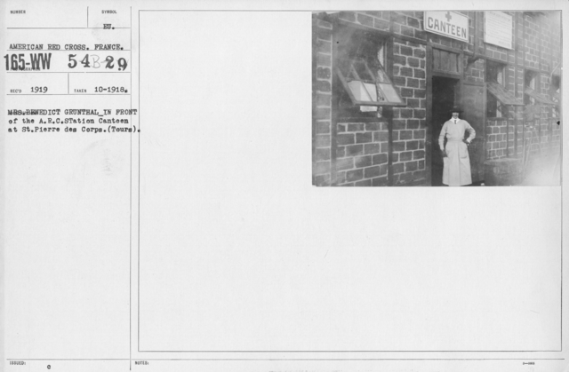 American Red Cross - E thru H - Mrs. Benedict Grunthal in front of the A.R.C. Station Canteen at St. Pierre des Corps (Tours)