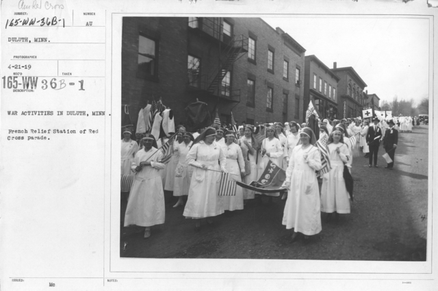 American Red Cross - Entertainments - War activities in Duluth, Minn. French Relief Station of Red Cross Parade