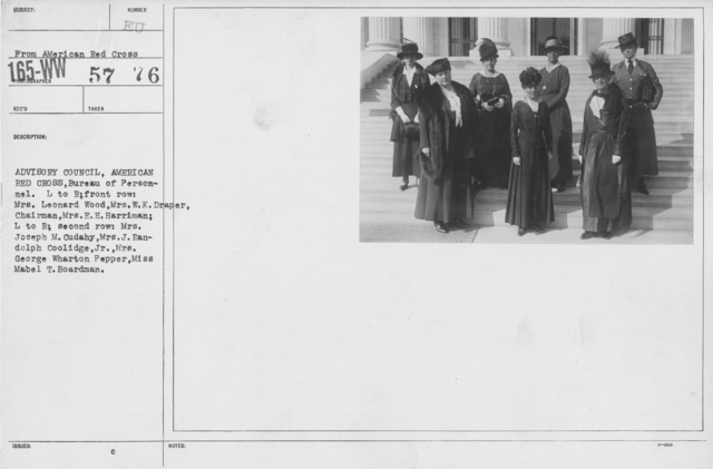 American Red Cross - Groups - Advisory Council, American Red Cross, Bureau of Personnel. L to R: front row: Mrs. Leonard Wood, MRs. W.K. Draper, Chairman, Mrs. E.H.  Harriman; L to R; second row: Mrs. Joseph M. Cudahy, Mrs. George Wharton Pepper, Miss Mabel T. Boardman