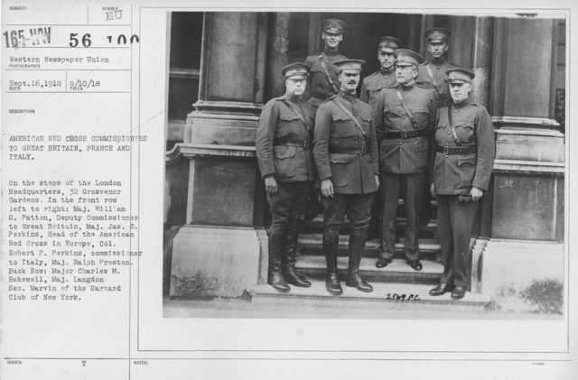 American Red Cross - Groups - American Red Cross Commissioners to Great Britain, France and Italy. On the steps of the London Headquarters, 32 Grosvenor Gardens. In the front row left to right: Maj. William S. Patten, Deputy Commissioner to Great Britain, Maj. Jas. S. Perkins, Head of the American Red Cross in Europe, Col. Robert P. Perkins, commissioner to Italy, Maj. Ralph Preston. Back row: Major Charles M. Bakewell, Maj, Langdon Sec. Marvin of the Harvard Club of New York