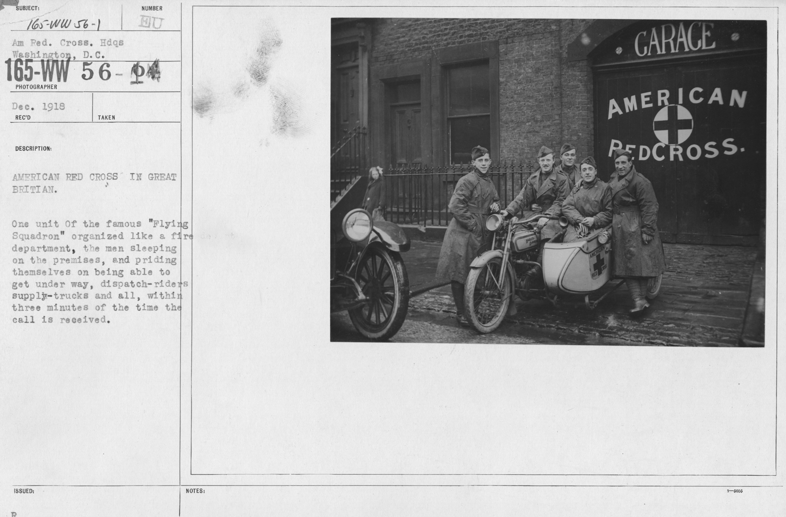 """American Red Cross - Groups - American Red Cross in Great Britian. One unit of the famous """"Flying Squadron"""" organized like a fire department, the men sleeping on the premises, and priding themselves on being able to get under way, dispatch-riders supply-trucks and all, within three minutes of the time the call is received"""