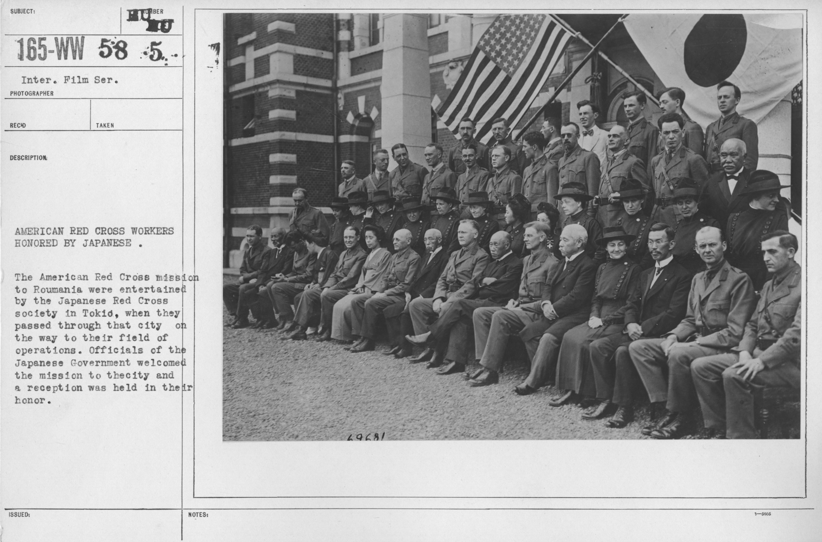 American Red Cross - Groups - American Red Cross workers honored by Japanese. The American Red Cross mission to Roumania were entertained by the Japanese Red Cross society in Tokio, when they passed through that city on the way to their field of operations. Officials of the Japanese Government welcomed the mission tot eh city and a reception was held in their honor