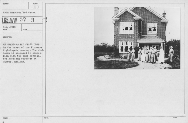 American Red Cross - Groups - An American Red Cross Club in the heart of the Florence Nightingale country. The club house is operated in connection with the camp hospital for American soldiers at Ramsay, England