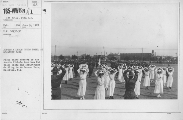 American Red Cross - Groups - Austin Nichols Units drill at McCarren Park. Photo shows members of the Austin Nichols American Red Cross Units and Infantrymen drilling in McCarren Park, Brooklyn, N.Y