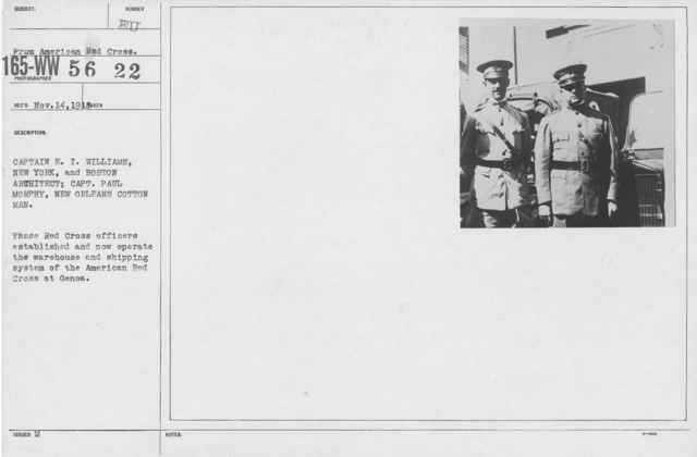 American Red Cross - Groups - Captain E.I. Williams, New York, and Boston Architect; Capt. Paul Morphy, New Orleans Cotton Man. These Red Cross Officers established and now operate the warehouse and shipping system of the American Red Cross at Genoa