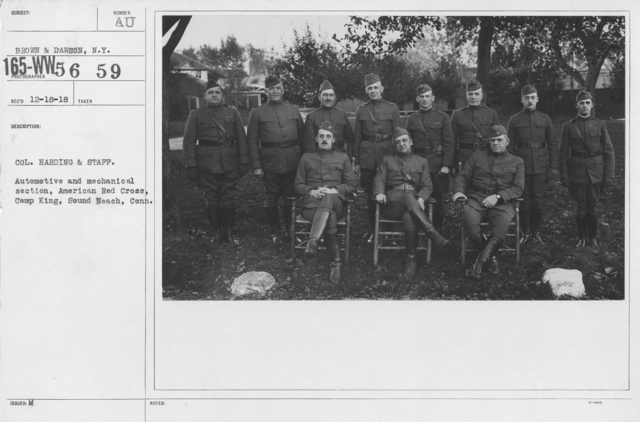 American Red Cross - Groups - Col. Harding & Staff. Automative and mechanical section, American Red Cross, Camp King, South Beach, Conn