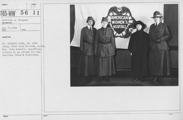 American Red Cross - Groups - Dr. Barbara Hunt, Dr. Mary Getty, Miss Nora Merrick, nurse, Mrs. Lida Braschi, chauffeur. Equipped to go abroad for the American Women's Hospitals