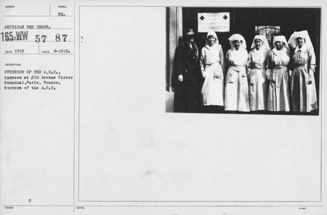 American Red Cross - Groups - Exterior of the A.R.C. Canteen at #24 Avenue Victor Emmanual, Paris, France. Workers of the A.R.C