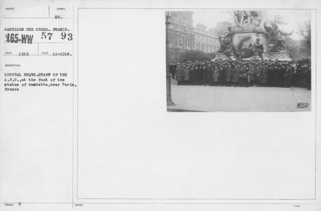 American Red Cross - Groups - General Headquarters. Staff of the A.R.C. at the foot of the statue of Gambetta, near Paris, France