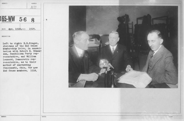 American Red Cross - Groups - Left to right: B.H. Kroger, chairman of the Red Cross Membership Drive, in consultation with Robert E. Edmonson, Republican Party Representative, and William Leonard, Democratic representative, as totheir method of canvassing Cincinnati, Ohio, for new Red Cross members. 1918