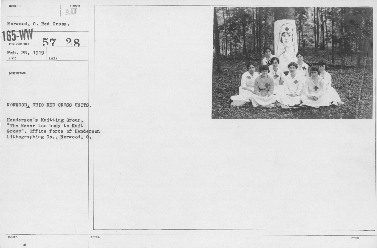 """American Red Cross - Groups - Norwood, Ohio Red Cross Units. Henderson's Knitting Group, """"The Never too buys to Knit Group."""" Office force of Henderson Lithographing Co., Norwood, O"""