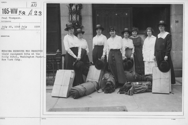 American Red Cross - Groups - Nursing recruits who received their equipment kits at the Holly Hotel, Washington Square, New York City