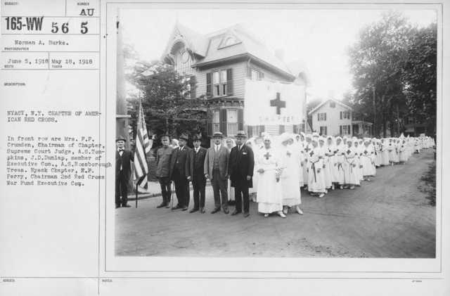 American Red Cross - Groups - NYACY, N.Y. Chapter of American Red Cross. In front row are Mrs. F.F. Crumden, Chairman of Chapter, Supreme Court Judge, A.S. Tompkins, J.D. Dunlap, member of Executive Com., A.S. Rossborough Treas. Nyack Chapter, E.F. Perry, Chairman 2nd Red Cross War Fund Executive Com