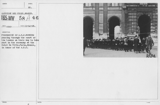American Red Cross - Groups - Procession of A.R.C. workers passing through the court of the Louvre on their way to take part in the ceremony at the Hotel De Ville, Paris, France, in honor of the A.R.C
