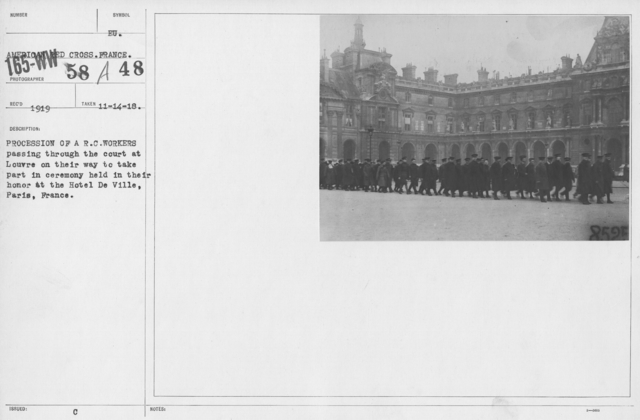American Red Cross - Groups - Procession of A.R.C. workers passing through the Court of the Louvre on their way to take part in ceremony held in their honor at the Hotel De Ville, Paris, France