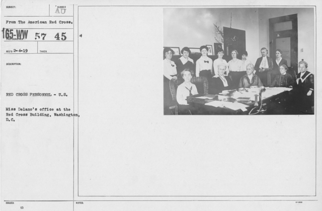 American Red Cross - Groups - Red Cross Personnel - U.S. Miss Delano's office at the Red Cross Building, Washington, D.C