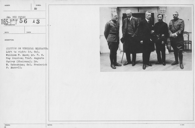 American Red Cross - Groups - Section on venereal diseases. Left to right: Lt. Col. William F. Snow; Dr. F.N. Kay Menzies; Prof. Augusto Cudrey (Chairman); Dr. T. Kabeshima; Col. Frederick F. Russell