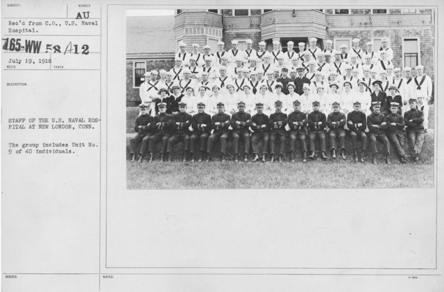 American Red Cross - Groups - Staff of the U.S. Naval Hosptial at New London, Conn. The group includes Unit No. 9 of 40 individuals
