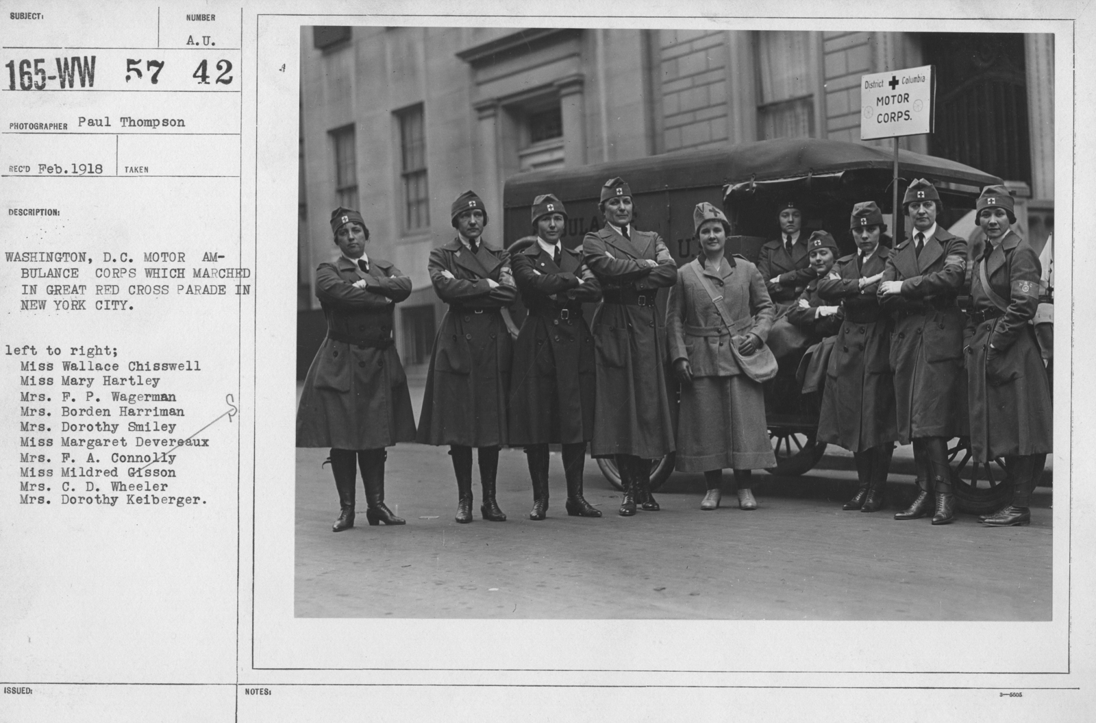 American Red Cross - Groups - Washington, D.C. Motor Ambulance Corps which marched in Great Red Cross Paradein New York City. Left to right; Mis Wallace Chisswell, Miss Mary Hartley, Mrs. F.P. Wagerman, Mrs. Borden Harriman, Mrs. Dorothy Smiley, Miss Margaret Devereaux, Mrs. F.A. Connolly, Miss Mildred Gisson, Mrs. C.D. Wheeler, Mrs. Dorothy Keiberger