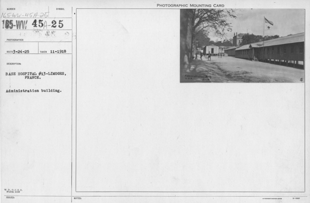 American Red Cross - Headquarters & Buildings - Base Hospital #13-Limoges, France. Administration building