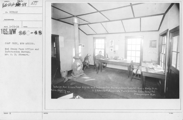 American Red Cross - Headquarters & Buildings - Camp Cody, New Mexico. Red Cross Pass Office and Information Bureau. Mr. O.D. Stewart