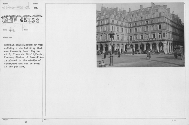 American Red Cross - Headquarters & Buildings - General Headquarters of the A.R.C. in the building that was formerly Hotel Regina at 2, Place de Rivoli, Paris, France. Statue of Joan d'Arc is placed in the middle of courtyard and can be seen in the picture