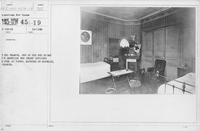 American Red Cross - Headquarters & Buildings - Toul France. One of the bedrooms in American Red Cross offiers hotel at Tours. Maurthe et Moselle, France