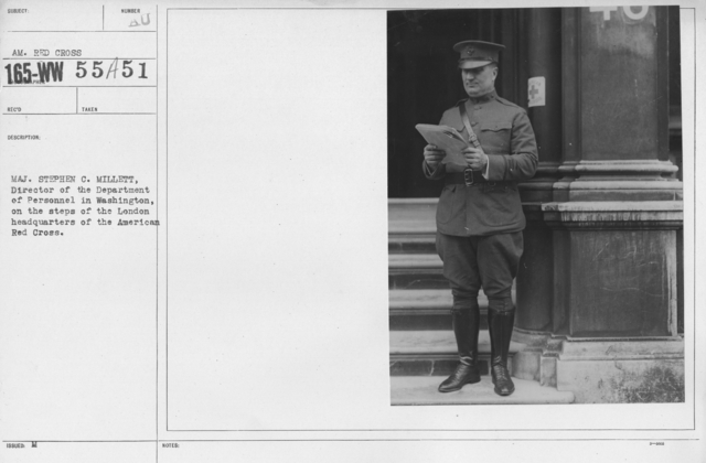 American Red Cross - I thru M - Maj. Stephen C. Millett, Director of the Department of Personnel in Washington, on the steps of the London headquarters of the American Red Cross